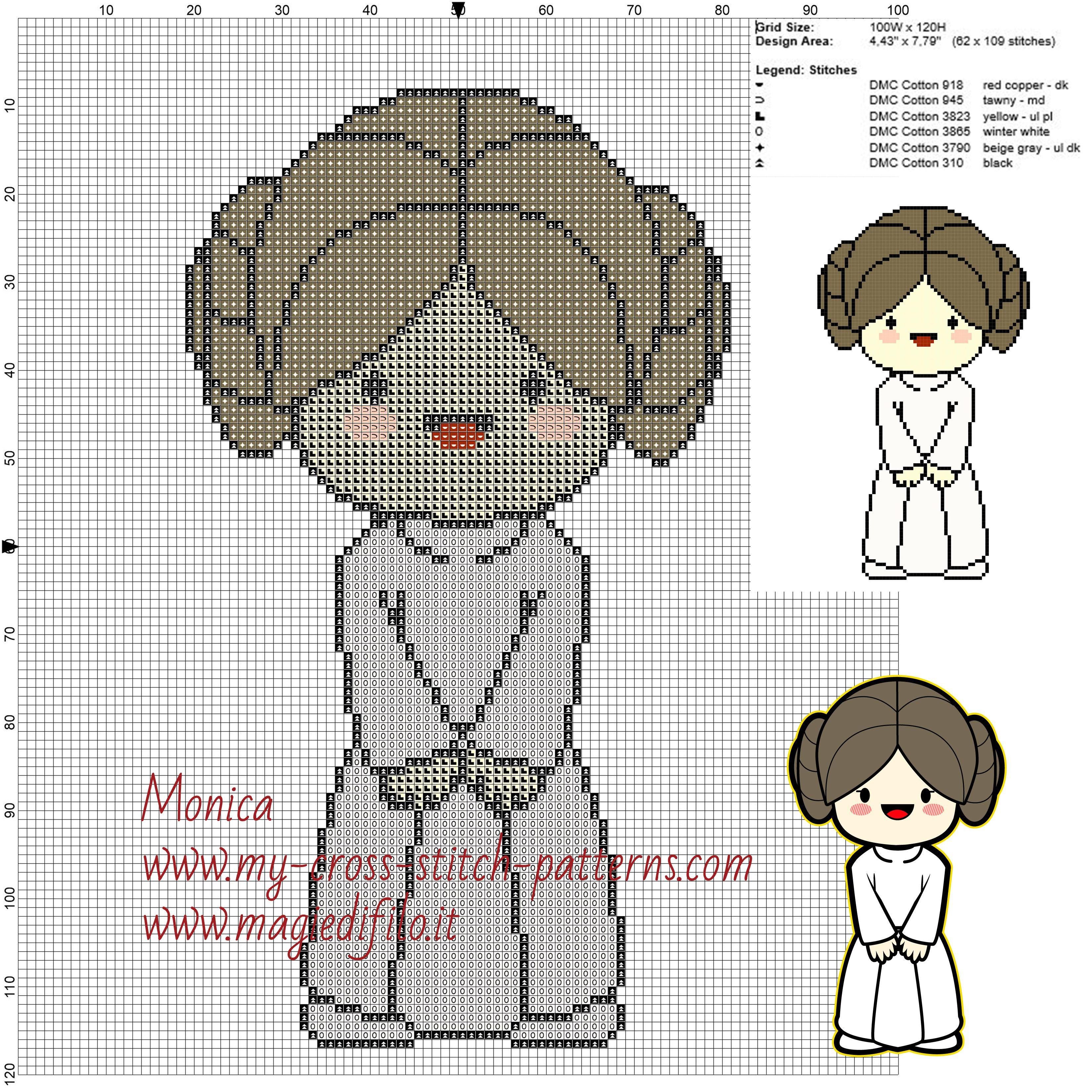 Schema punto croce principessa Leila (Star Wars) 100x120 6 colori.jpg (JPEG-afbeelding, 3300×3300 pixels)