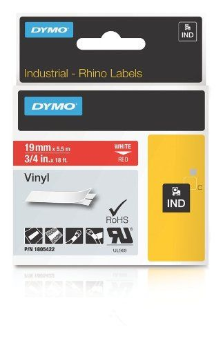Dymo Industrial Labels For Dymo Industrial Rhino Label Makers White On Red 34 1 Roll 1805422 Details Can Be Found By Click Vinyl Labels Label Printer Labels