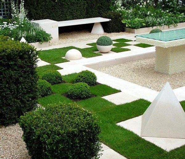 garten ideen gartengestaltung geometrische muster grünes gras - ideen zur gartengestaltung bilder