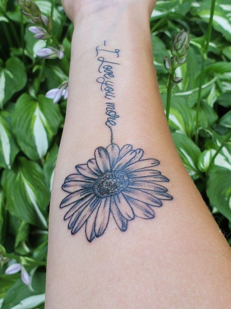 Daisy love tattoo in 2020 Cursive tattoos, Love yourself