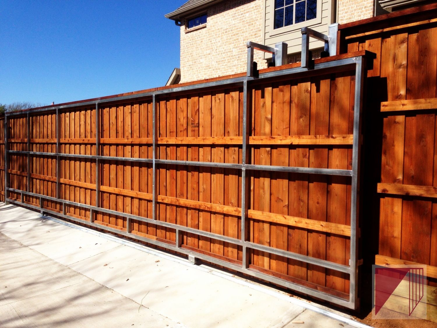 Galvanized steel frame drive gate fence dallas wood gate - A Very Long Wooden Slide Gate Wooden Driveway Gatesfence