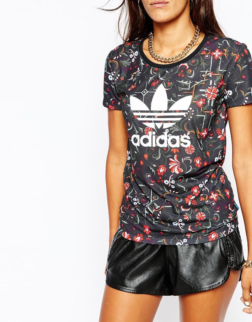 adidas originals moscow t shirt dress with floral trefoil print