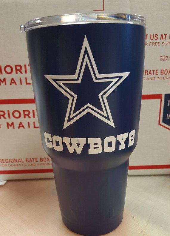 30oz Dallas Cowboys Yeti Wrapped In 3m Matte Blue Vinyl