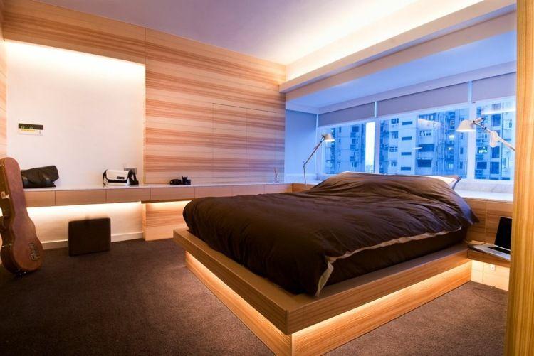 Das Holz wird durch indirekte Beleuchtung in diesem Schlafzimmer - indirekte beleuchtung schlafzimmer