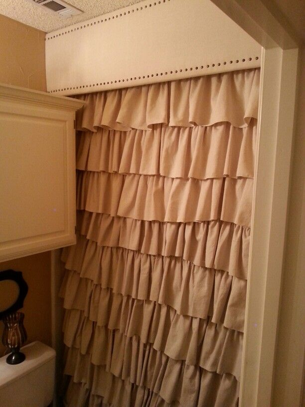 Drop Cloth Ruffled Shower Curtain And Drop Cloth Cornice Board With Nailhead Trim To Cover Shower Sliding Glass Door Glass Shower Doors Ruffle Shower Curtains