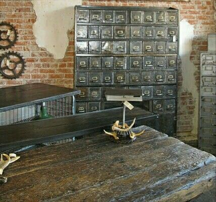 Old world Table, Metal filing cabinets, old Gears Etc... make great accessories⭐