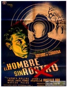 Awesome poster for a Mexican film called 'El Hombre Sin Rostro' (1950). Great illustration, awesome colours, cool graphic design. Perfecto!