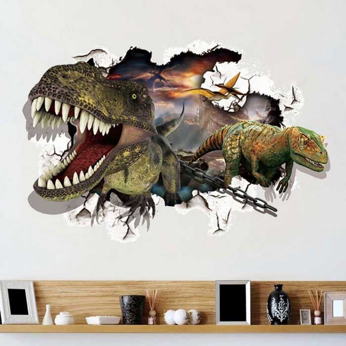 removable diy 3d dinosaur wall decorative wall stickers on wall stickers 3d id=95371