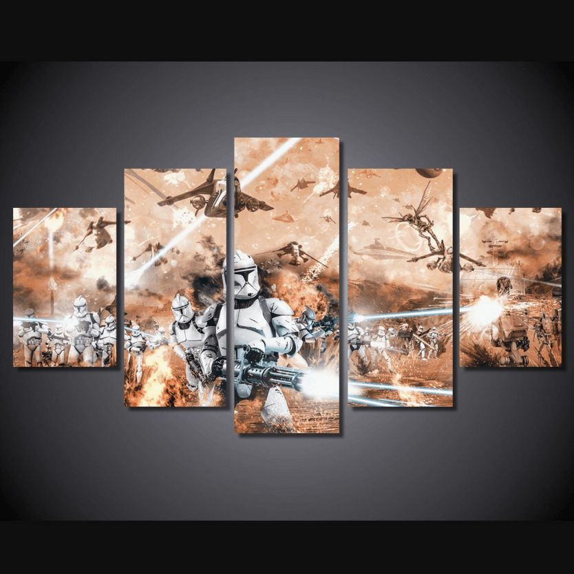 5 Panel Star Wars Battle Field Framed Wall Canvas Art Octo Treasure With Images Framed Wall Canvas Star Wars Decor Wall Painting