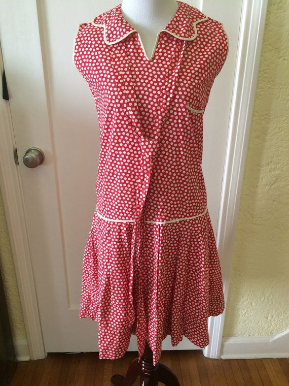 1920S Polka Dotted Dress, 20s Red and White Dress, Flapper Cotton ...