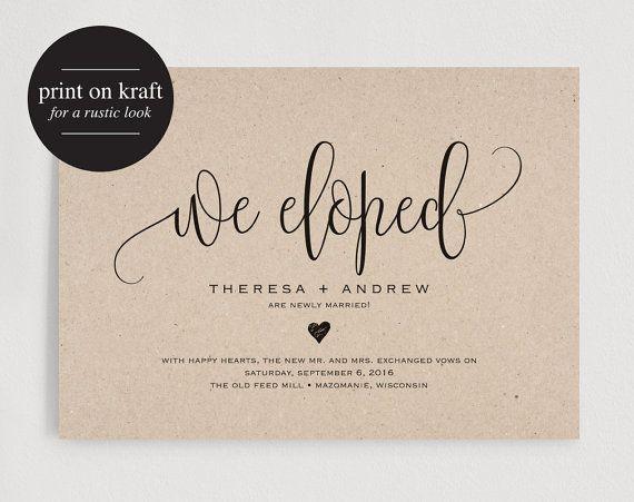 We Eloped Wedding Announcement, Elopement Announcement Printable ...