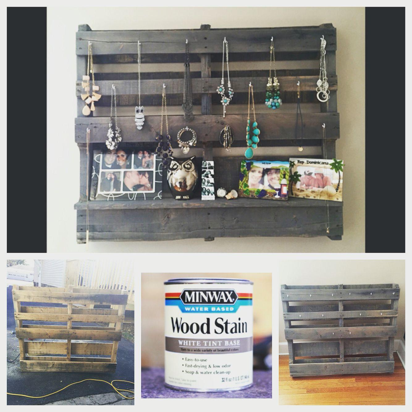 Pallet Jewelry Holder Diy Minwax Wood Stain Diy Diy Jewelry