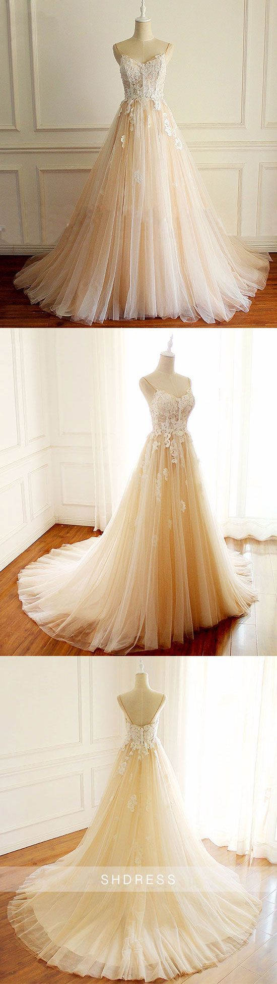 Champagne v neck tulle lace long prom dress champagne tulle evening
