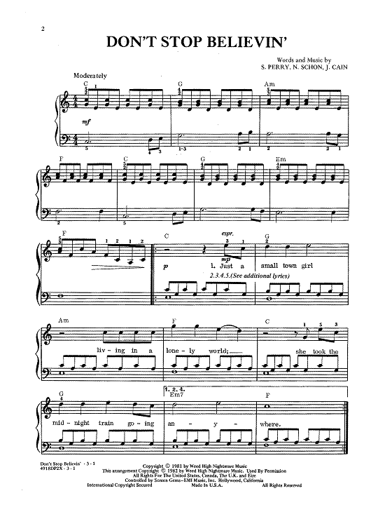 Dont Stop Believin Sheet Music Pianos And Piano Music