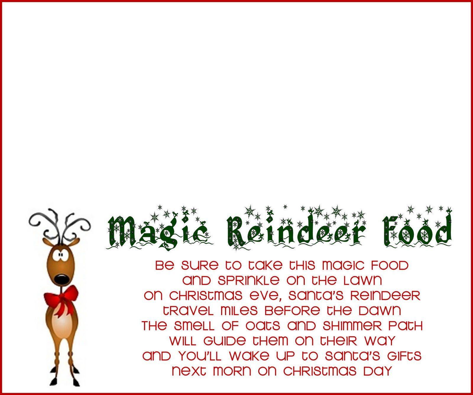 Reindeer Food Recipe And Printable