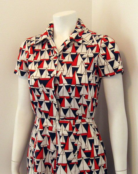 d65e1c2d7a93 Vintage 1960's Sailboat Print Nautical Fitted Dress by magicalbee, $35.00
