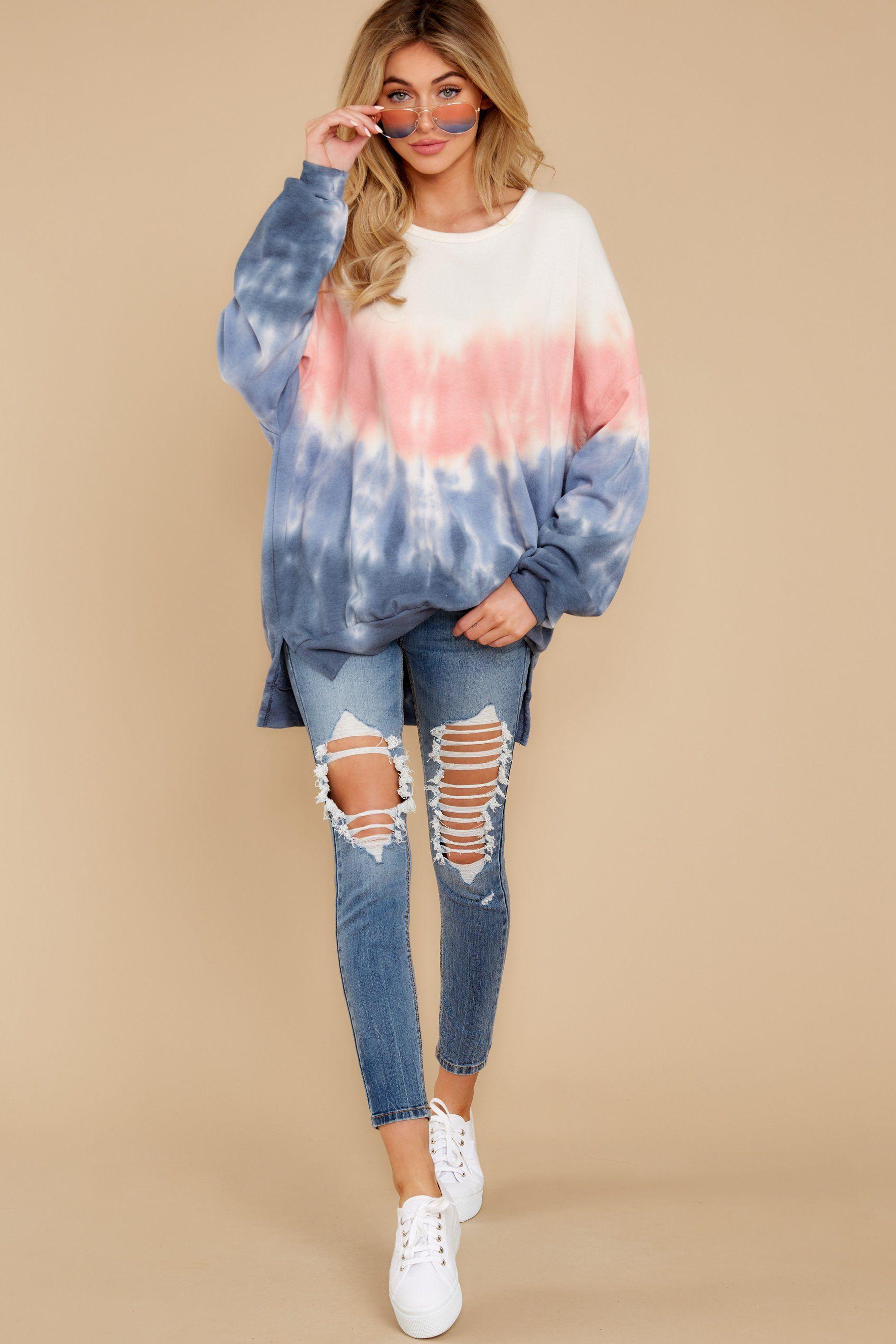 Stylish Pink Pullover Tie Dye Long Sleeve Pullover Tops 42 00 Tie Dye Pants Trendy Hoodies Sweatshirts Tie Dye Long Sleeve [ 2738 x 1825 Pixel ]