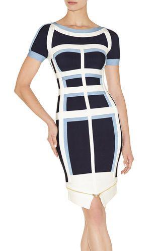 Jassalyn Colorblocked Zipper-Detailed Peplum Dress   Herve Leger