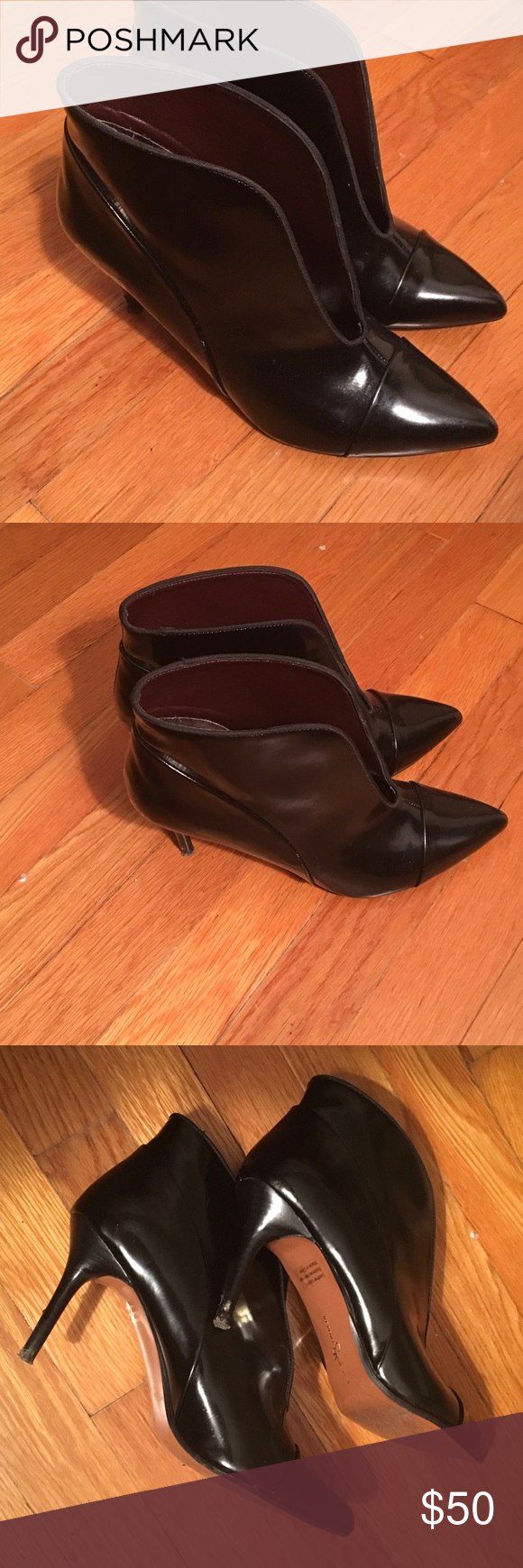 """Report Signature ankle booties Gorgeous, shiny patent leather boots. 3"""" heel. Perfect for the Fall paired with joggers or a cute skirt and tights. I stubbornly bought them but the heel is just too much for me 😢. Only worn a couple of times, almost like new but I somehow got a scratch on one of the heels 👠... price reflects this small flaw! Report Signature Shoes Ankle Boots & Booties"""