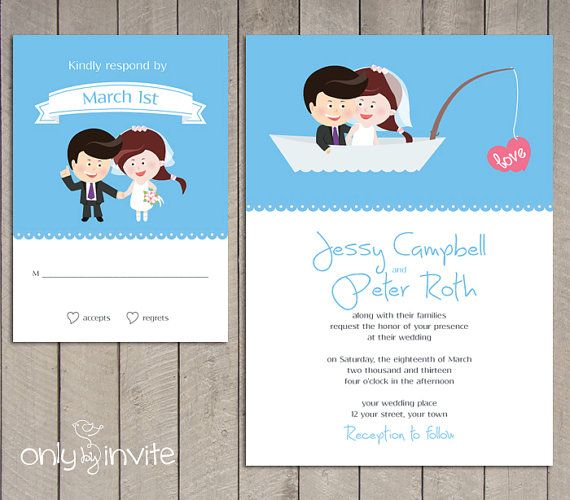 Funny Wedding Invitation With Cartoon Bride Groom In The See Of Love