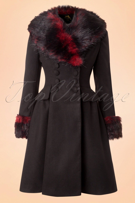 Hell Bunny Vintage Rockabilly Wintermantel Mantel Kunstfell Milan Coat Schwarz