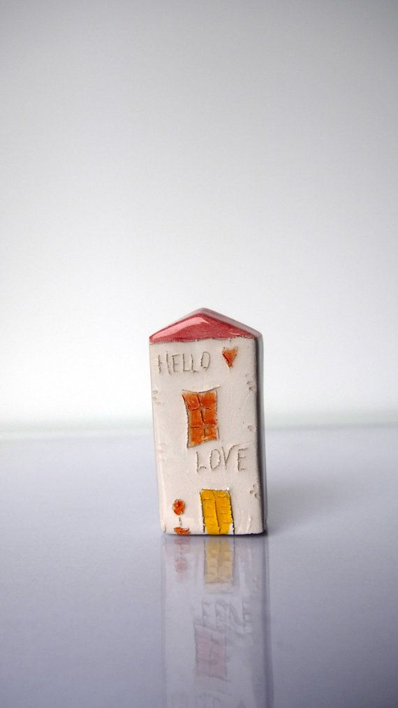 HELLO LOVE My little Clay House with soft by VitezArtGlassDesign