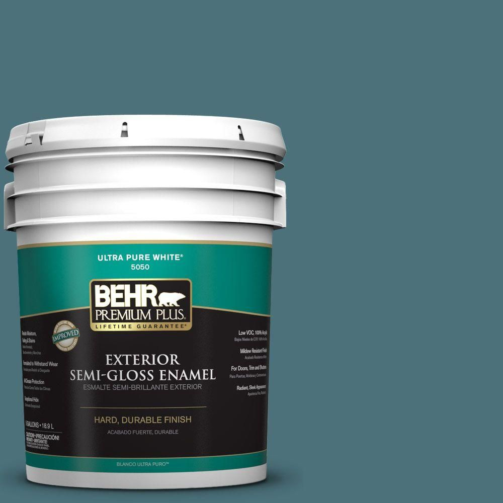 BEHR Premium Plus 5-gal. #S450-6 Tornado Season Semi-Gloss Enamel Exterior Paint