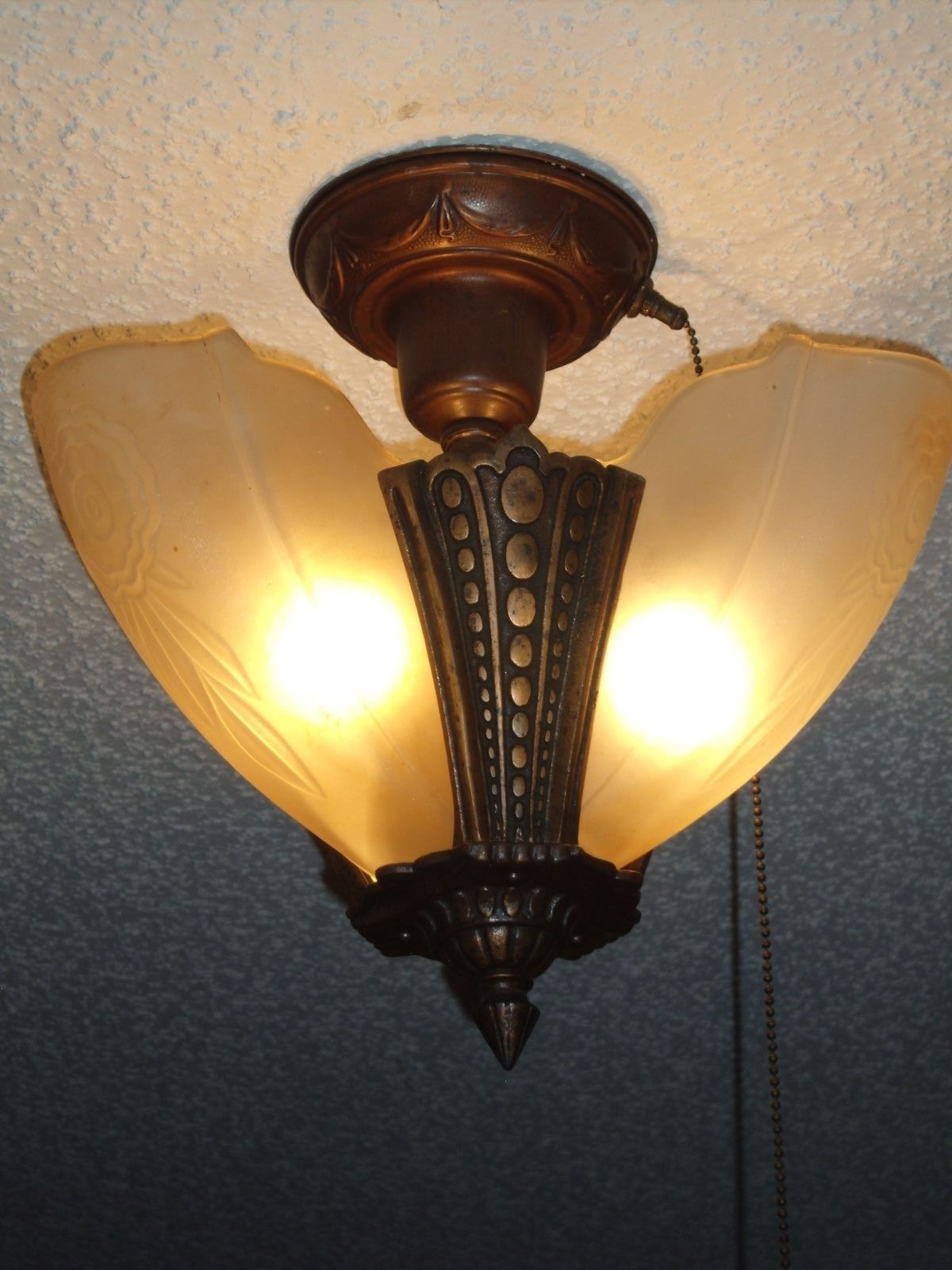 Antique Slip Shade Ceiling Lamp 3 shades with Original Pull cord