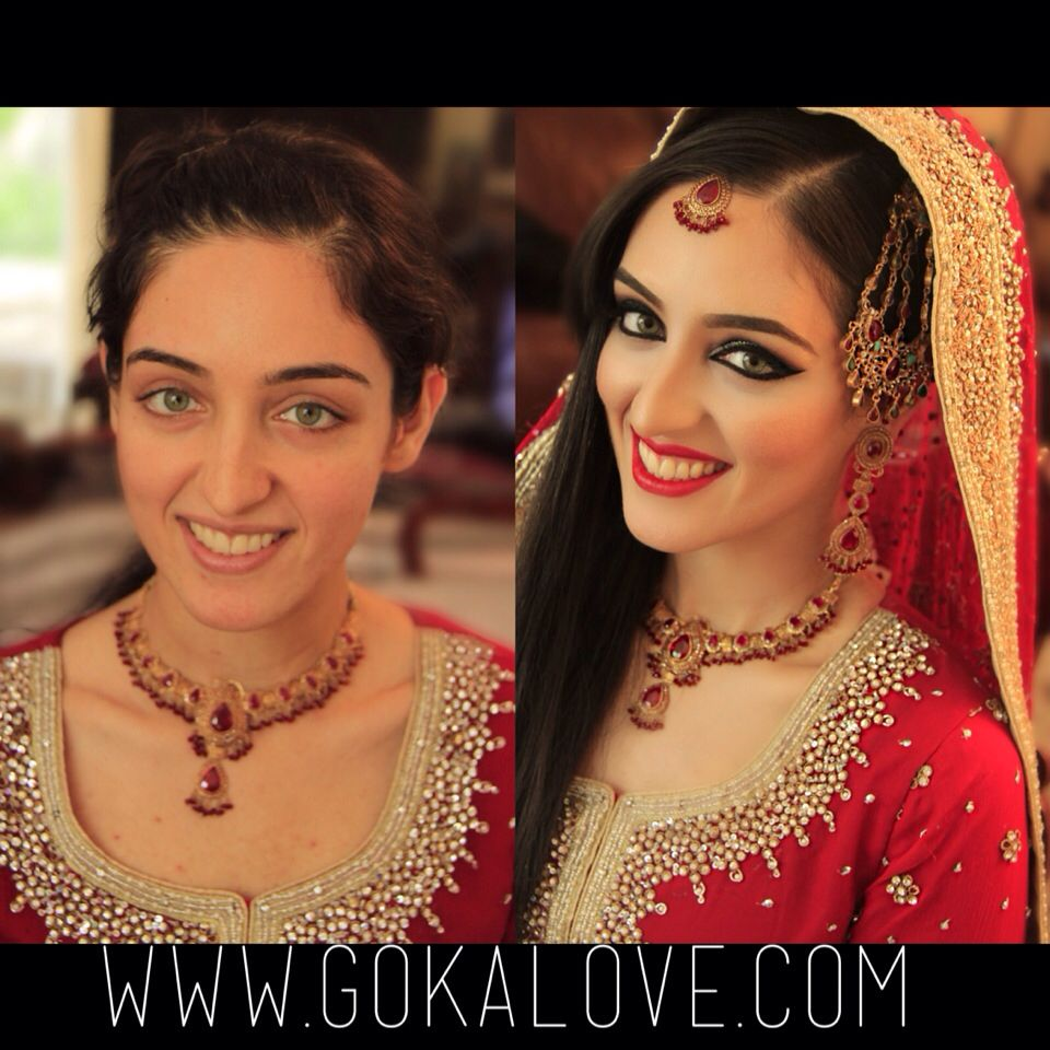 before and after of my pakistani bride! makeup, hair