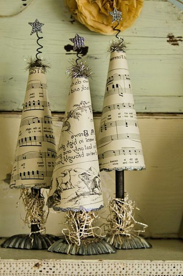 old but gold recycle of sheet music xmas deko pinterest weihnachtsdeko selber machen. Black Bedroom Furniture Sets. Home Design Ideas