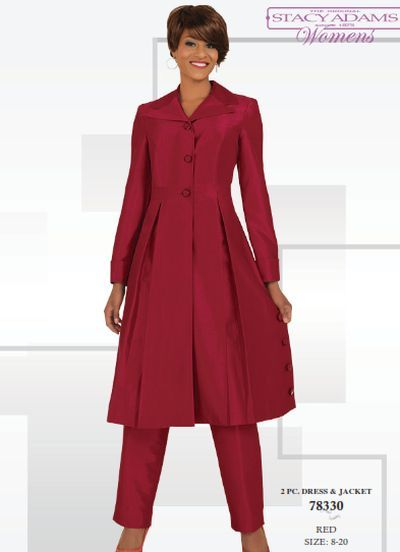 Stacy Adams Womens Pant Suit with Long Jacket 78330 | Red ...