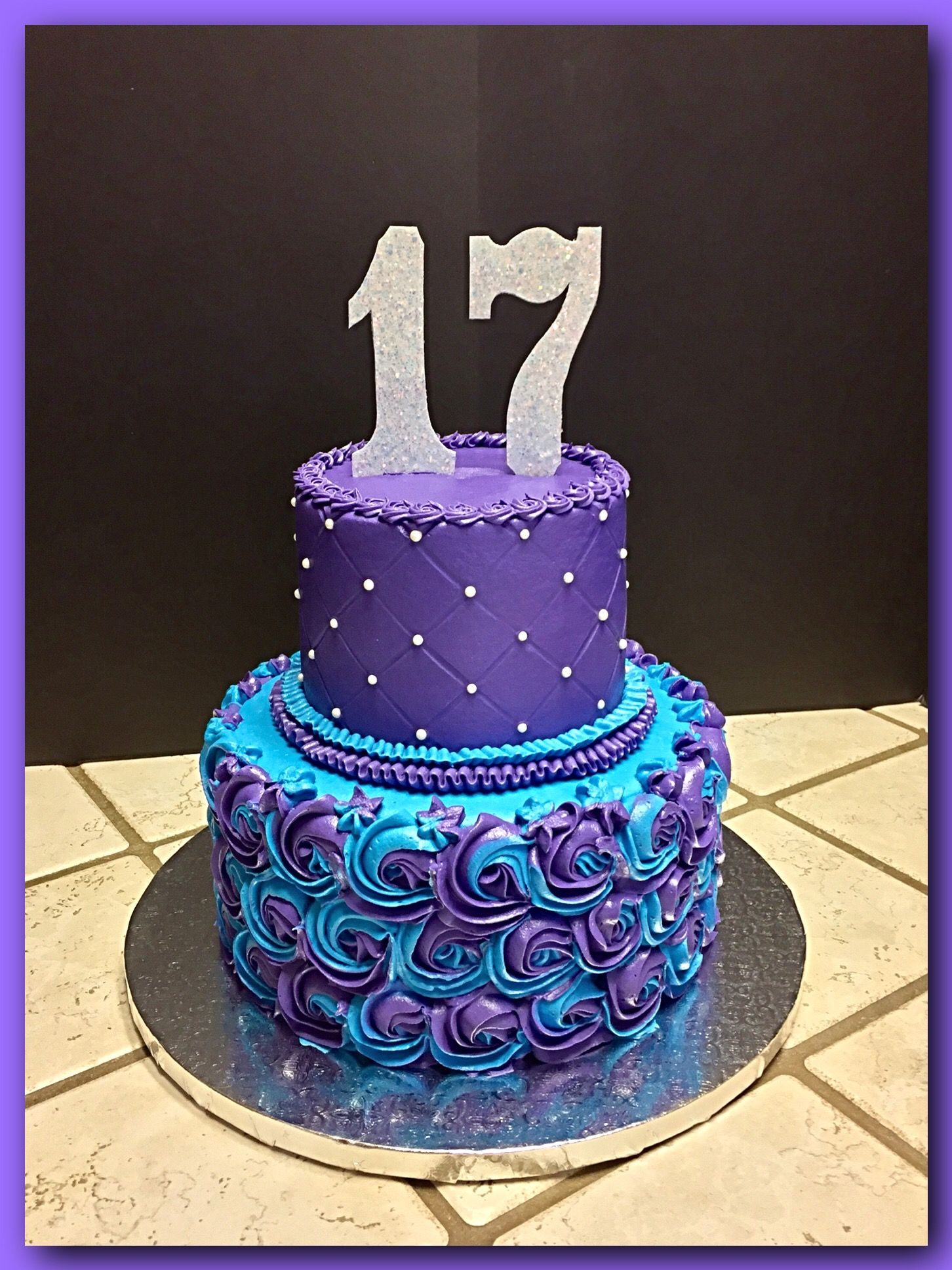 Purple And Turquoise Quiltedrosette Cake The Great Cakery In 2019 16 Birthday Cake 18th