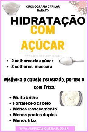 HIDRATAÇÃO DE AÇÚCAR PARA O CABELO + BRILHO E ALINHAMENTO DOS FIOS #cabelos