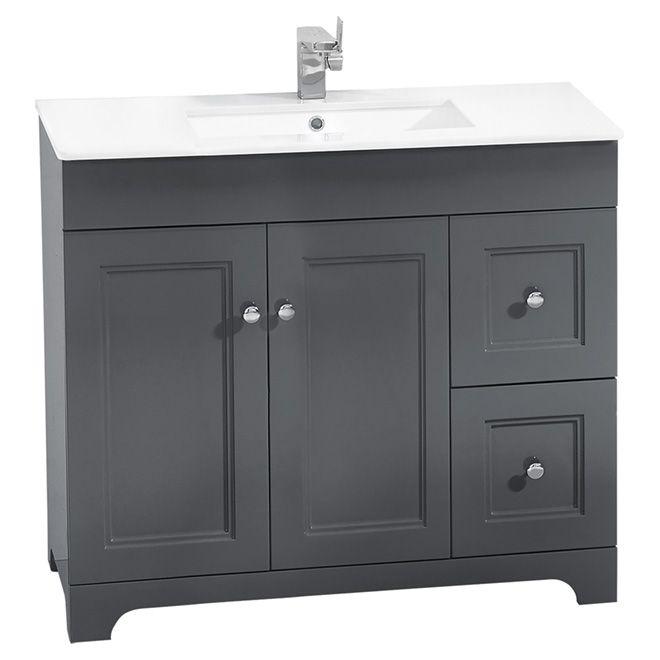 Meuble-lavabo, 2 portes/2 tiroirs, 34 1/4\