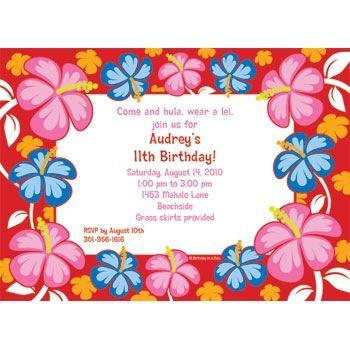 Hawaiian invite idea Parkers Birthday Pinterest Luau