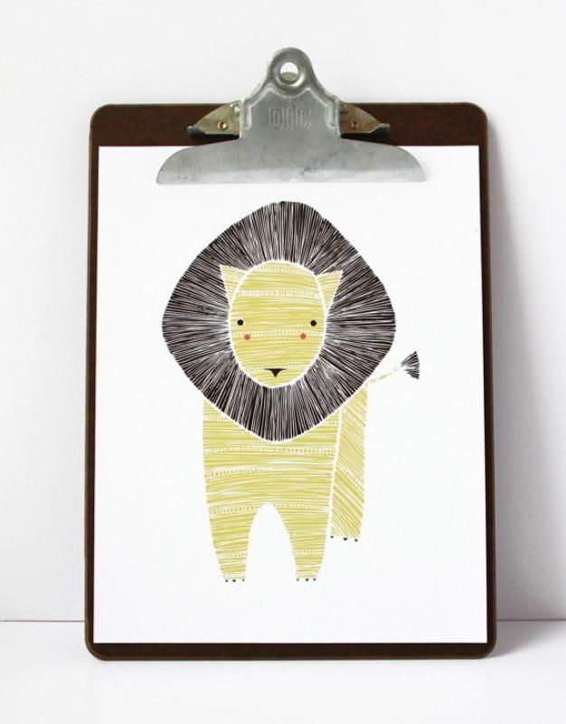 Leo Lion Print by Gingiber // at Darling Clementine