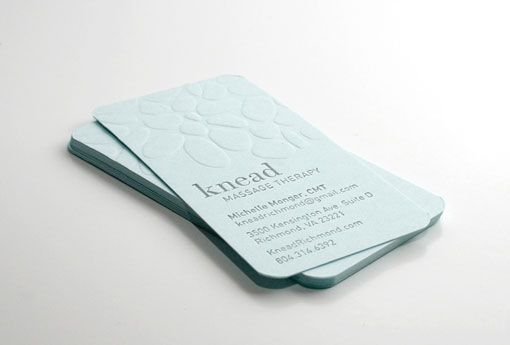 The upper surface is blind embossed with the shapes of smooth stones massage therapist business card colourmoves