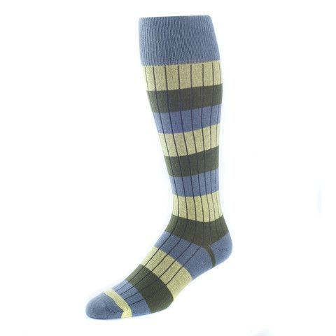 MADE IN USA - Harris- Over Calf Socks Striped Olive.... MENS ORGANIC COTTON SOCKS WITH STYLE.. MADE IN USA