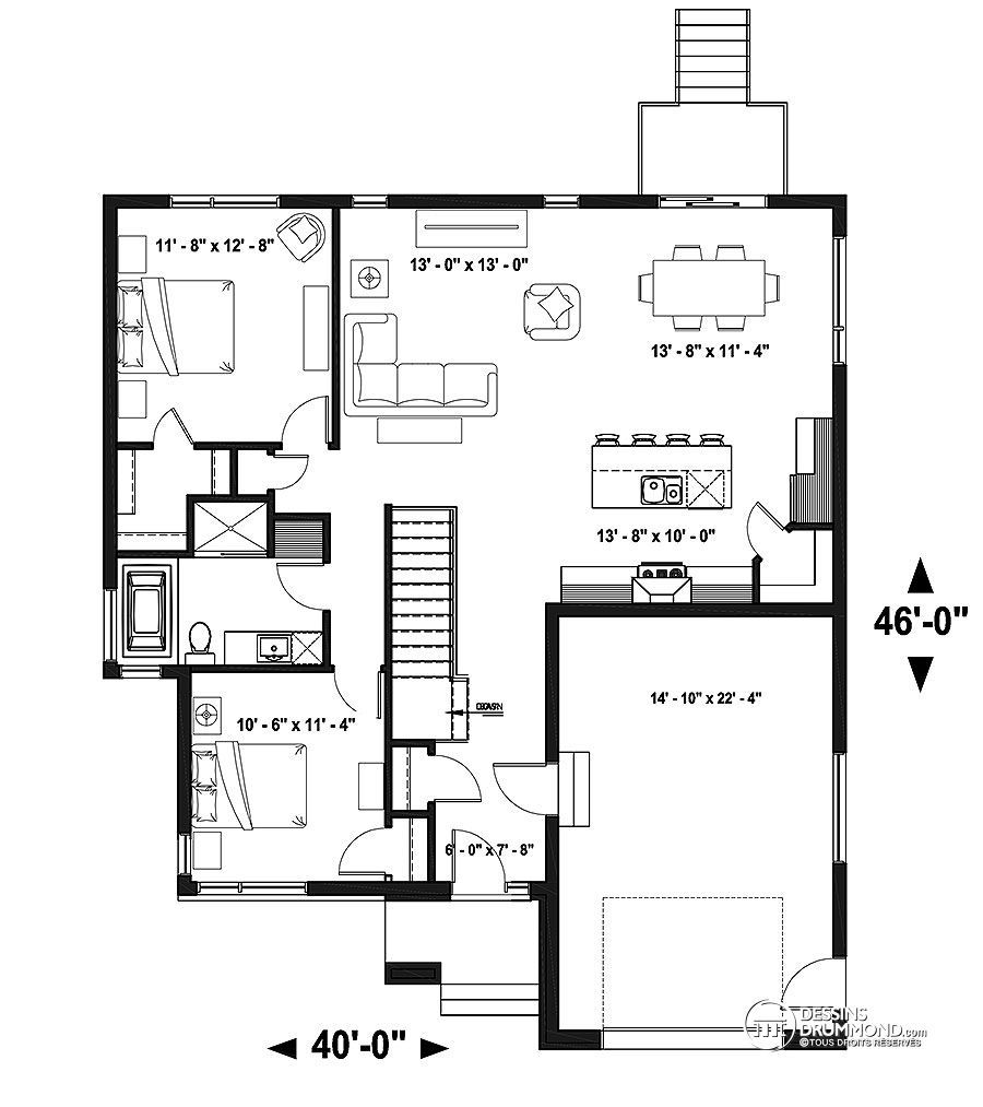 2 bedroom house plans d 233 du plan de maison unifamiliale w3289 plan de 13935