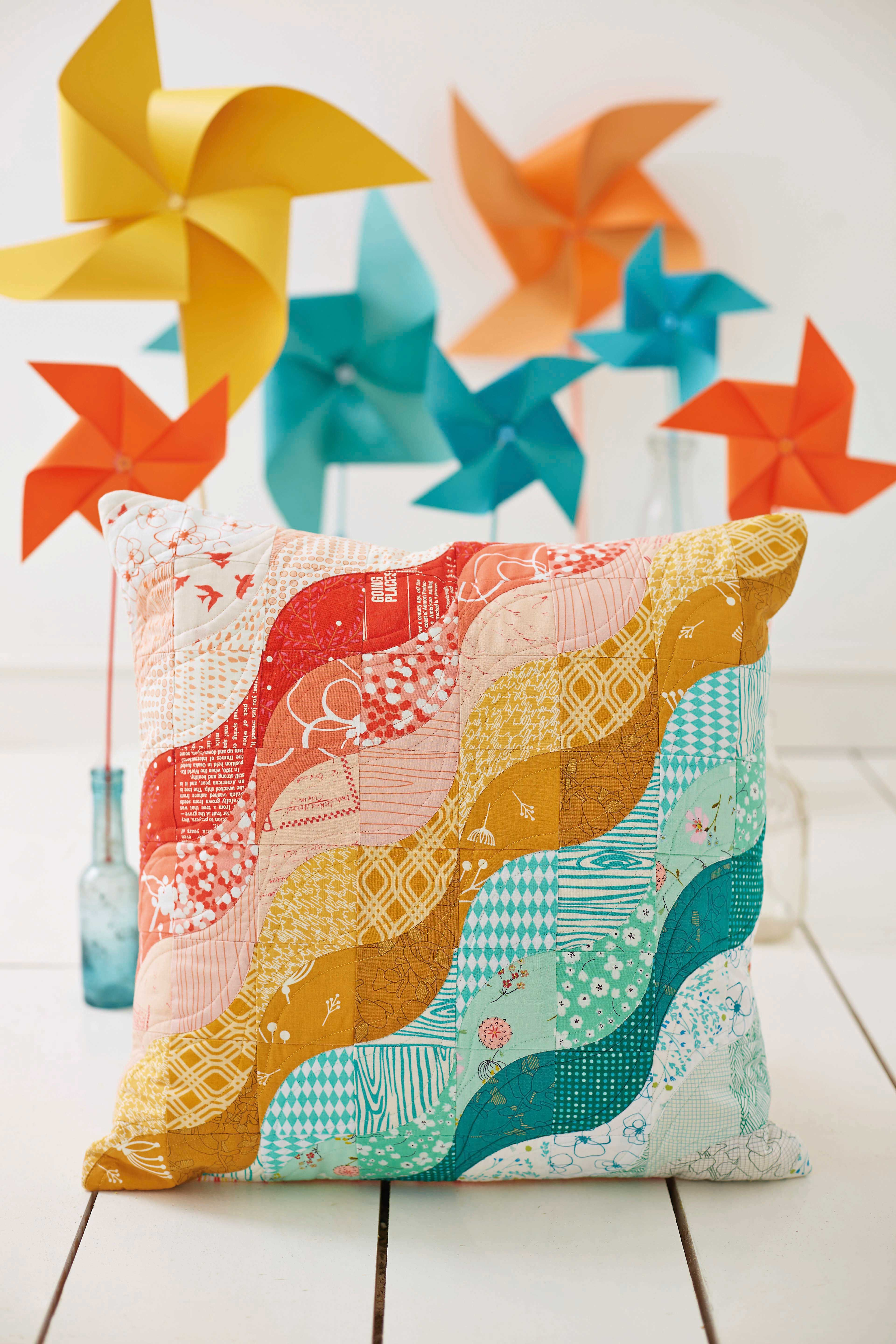 Rainbow Ripple cushion by Julianna Gasiorowska for Love Patchwork & Quilting magazine issue 12