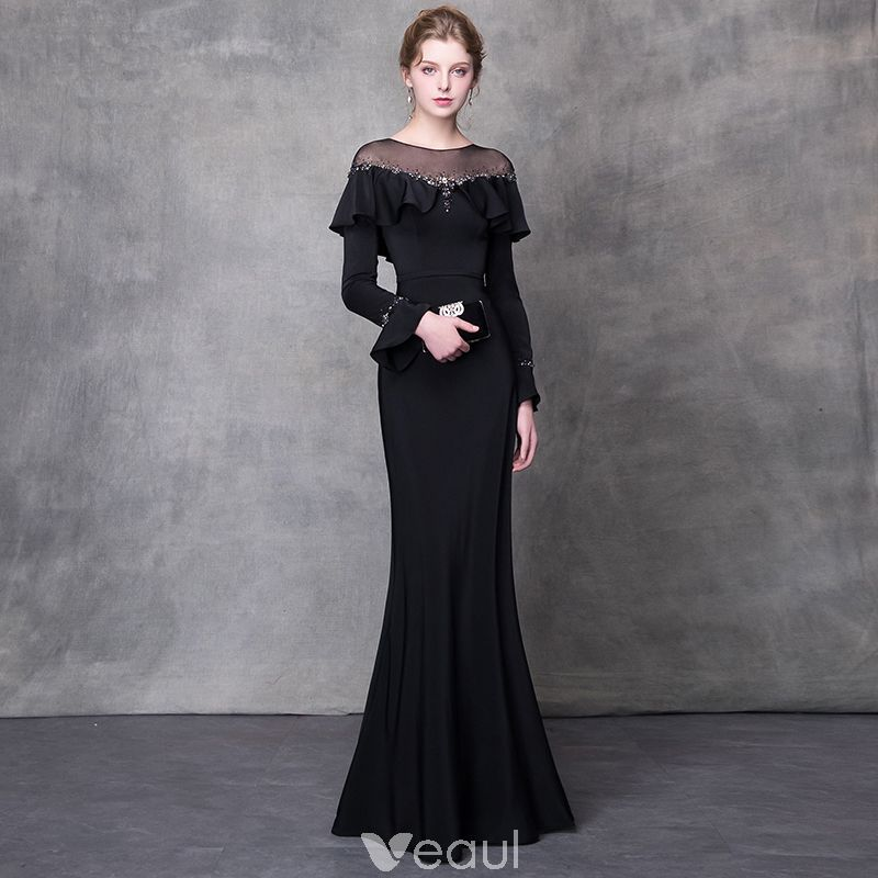 Elegant Black Evening Dresses 2018 Trumpet   Mermaid Crystal Rhinestone  Sash Scoop Neck Long Sleeve Sweep 16f67c658297