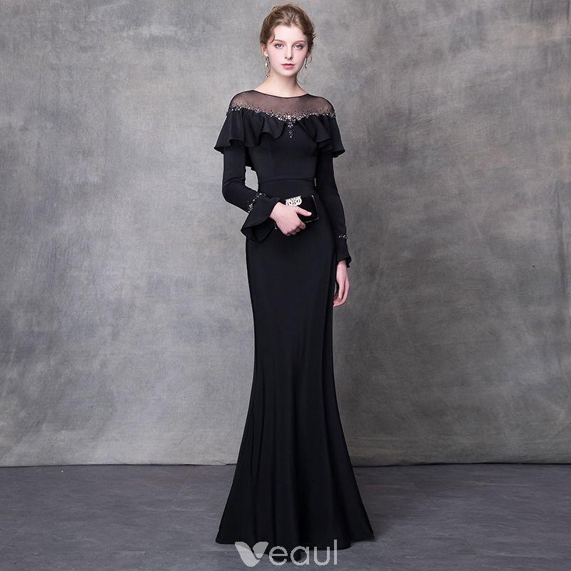 232733db6 Elegant Black Evening Dresses 2018 Trumpet / Mermaid Crystal Rhinestone  Sash Scoop Neck Long Sleeve Sweep
