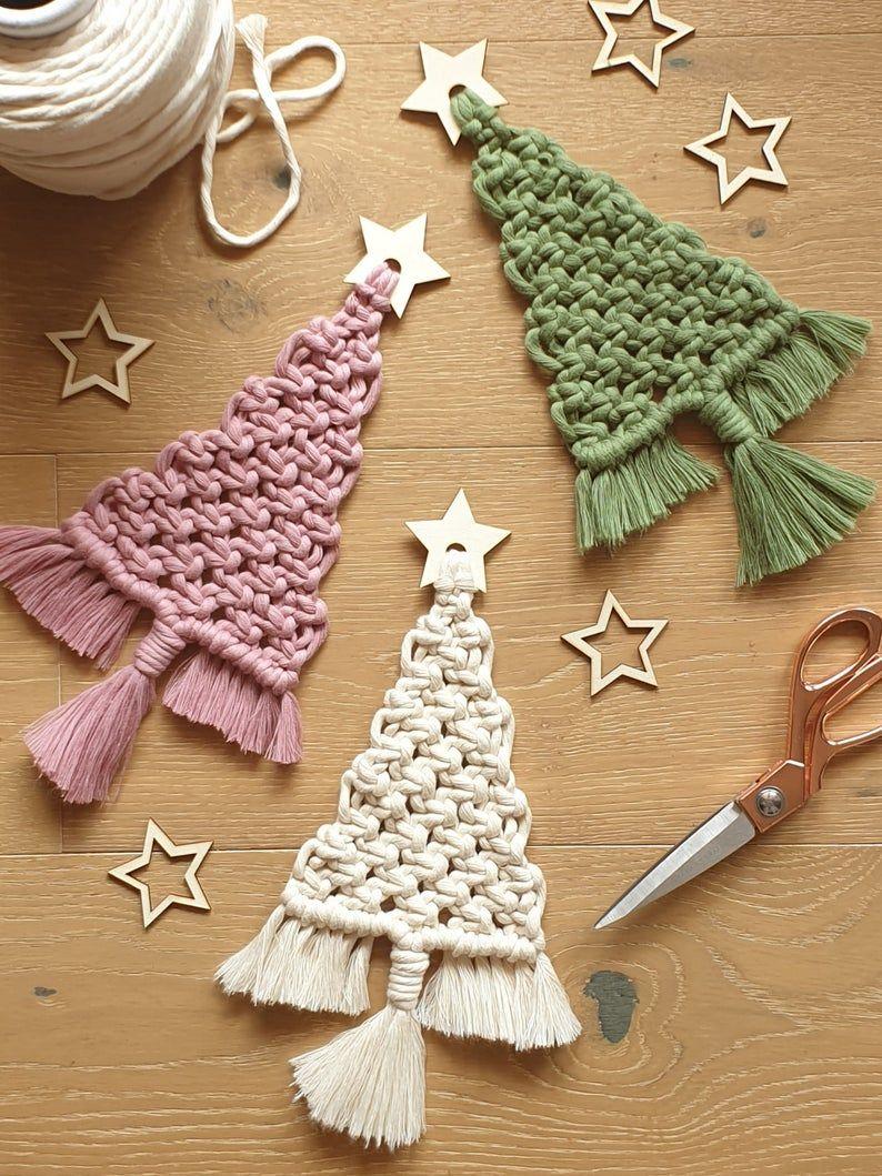 Macramé DIY KIT, Christmas Tree with Wooden Star, Holiday, Craft, Decoration, Wall Hanging, Christmas, festive, gift idea, Craft kit.
