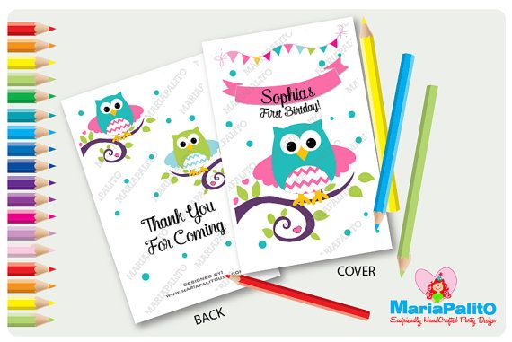 6 owl coloring books first birthday party personalized party favors forest owl coloring book a1294 by - Custom Coloring Books