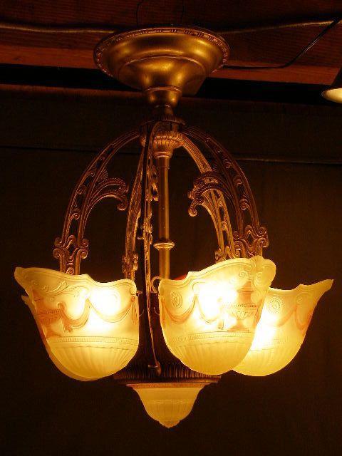 20s Art Deco Slip Shell Shade Sconce Lamp Hanging Light Fixture Gl Chandelier