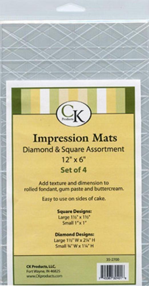 Impression Mats Diamonds Squares Ck Products 4pc Cake Decorating