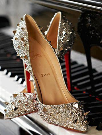 4ee4817b5cc4 Louboutin high heel pumps with studs in silver