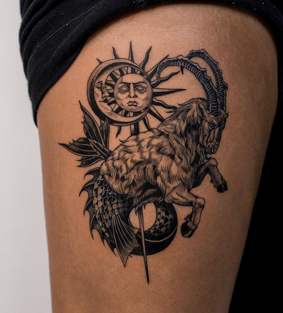 7 Capricorn Tattoo Ideas To Celebrate The Sign S Solar Return Capricorn Tattoo Occult Tattoo Tattoos