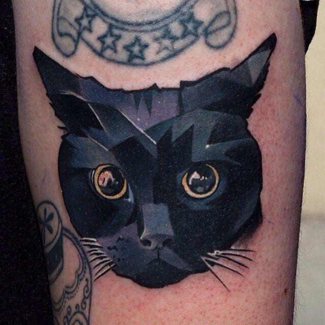 Shaded Black Cat Tattoo Geometric Animal Tattoo Black Cat Tattoos Cat Tattoo Designs