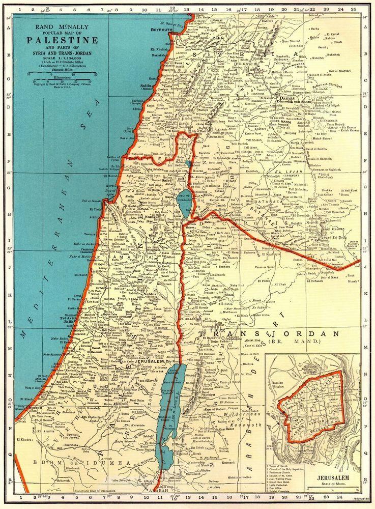 1938 Antique PALESTINE Map Jerusalem Map Vintage 40\'s Gallery Wall ...